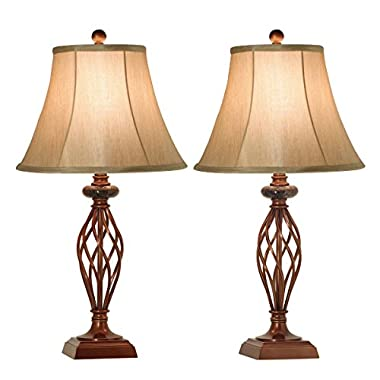 Table Lamps Set of 2 for Living Room or Bedroom, 27.5 in. High Royal Bronze Finish, Large Bedside Reading,Dining,Kitchen,Nightstand Traditional Table Lamp (Table Lamp 2pk)