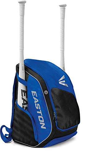 EASTON ELITE X Bat & Equipment Backpack Bag | Baseball Softball | 2020 | Royal | 2 Bat Sleeves | Vented Shoe & Equipment Compartments | Valuables Pocket | Water Bottle Sleeve | Fence Hook