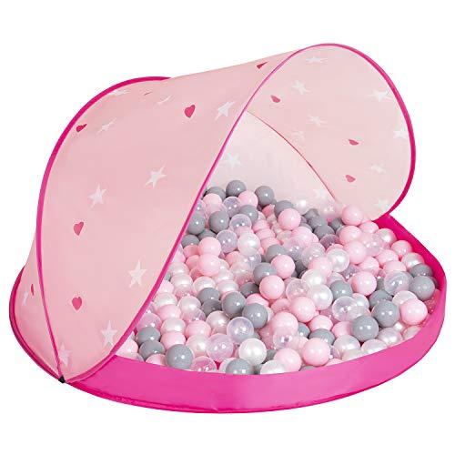 Selonis Pop Up Speeltent Kasteel Speelhuisje Met Plastic Ballen Voor Kinderen, Roze:Parel-Grijs-Transparant-Poeder Roze,115X115x75cm/100 Ballen