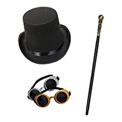 Amazing Steampunk style Halloween fancy dress set Set includes a top hat, pair of goggles, & cane All items are of high quality and one-size-fits-all adults Plastic cane measures 80cm 1 x pair of googles sent at random (gold or silver)