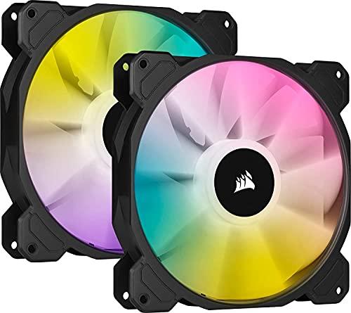 Corsair iCUE SP140 RGB ELITE Kit de 2 Ventiladores RGB 140mm PWM con controlador iCUE Lightning Node CORE