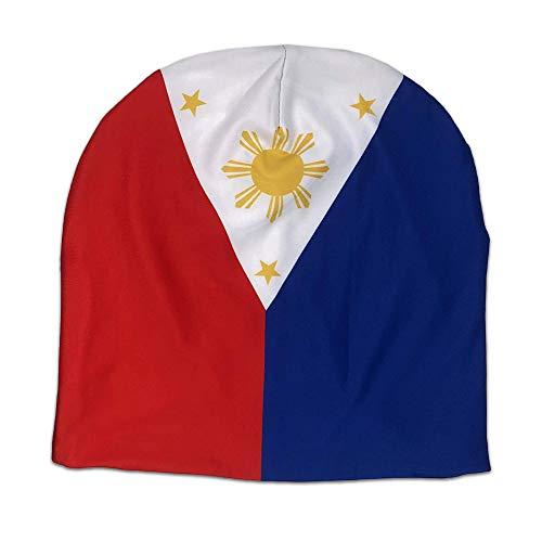 HJKLONE Filipino Philippine Flag Beanie Skull Cap Soft Slouchy Beanie Hip Hop Sleep Cap Running Hat for Men Women