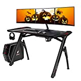 AuAg 47' Gaming Style Desk Computer Home Office Desk Student Table PC Desk with Cup Holder & Headphone Hook Powerful Cabling Management PC Desk with Colorful RGB Lights