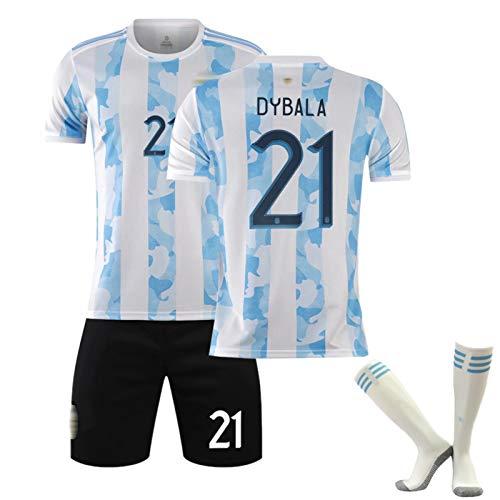 ZQYDUU Neue 20-21 Fußballtrikots Set Argentinien Trikot # 19 Kun Aguero # 9 Higuain Home Erwachsene Kinder Spiel Team Uniform, Fußball Trainingsanzüge Hemd Shorts #21-28