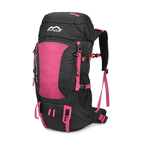 MONTIS WILDNATURE 38, Sport- / Wanderrucksack, Regenschutz, ausreichend Platz für längere Wander Ausflüge, geeignet als Biking, Touren- & Wanderrucksack mit Audio- & Trinkvorbereitung, (38L - Berry)