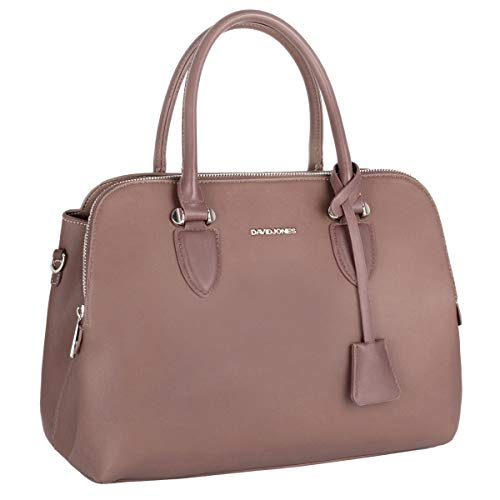 David Jones - Dames Bugatti Handtas Draagtas - Shopper Tote PU Leer Schoudertas - Veel Zakken Vakken Rits Crossbodytas - Vrouwen Meisje Tassen - Mode Stad Werk - Oude Roos