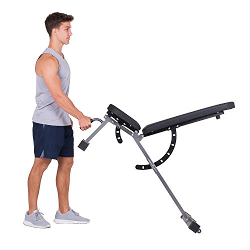 Body Power Multi Purpose Adjustable Fitness Weight Bench Flat Incline Decline FID with Adjustable Seat and Back Cushion/Built in Transport Wheels BUB350