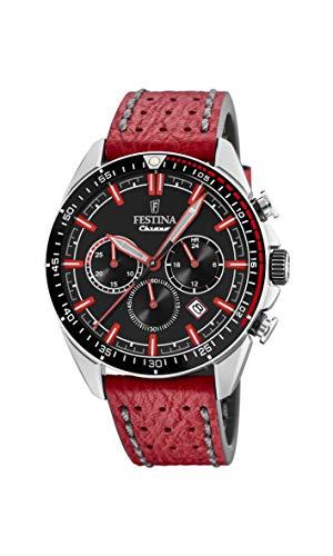 Festina Herren Chronograph Quarz Uhr mit Leder Armband F20377/5