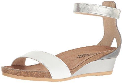 NAOT Women's Pixie Wedge Sandal White/Vintage Slate Lthr Combo 10 M US