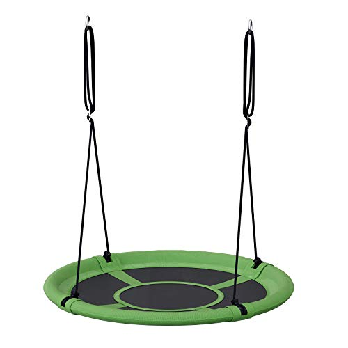 SONGMICS Saucer Tree Swing, 40 Inch, 700 lb Load, Includes Hanging Kit, Green and Black UGSW001G01
