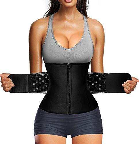 Gotoly Women Waist Trainer Belt Tummy Control Waist Cincher Trimmer Sauna Sweat Slimming Body Shaper Workout Girdle Belly Band (Black, Medium)