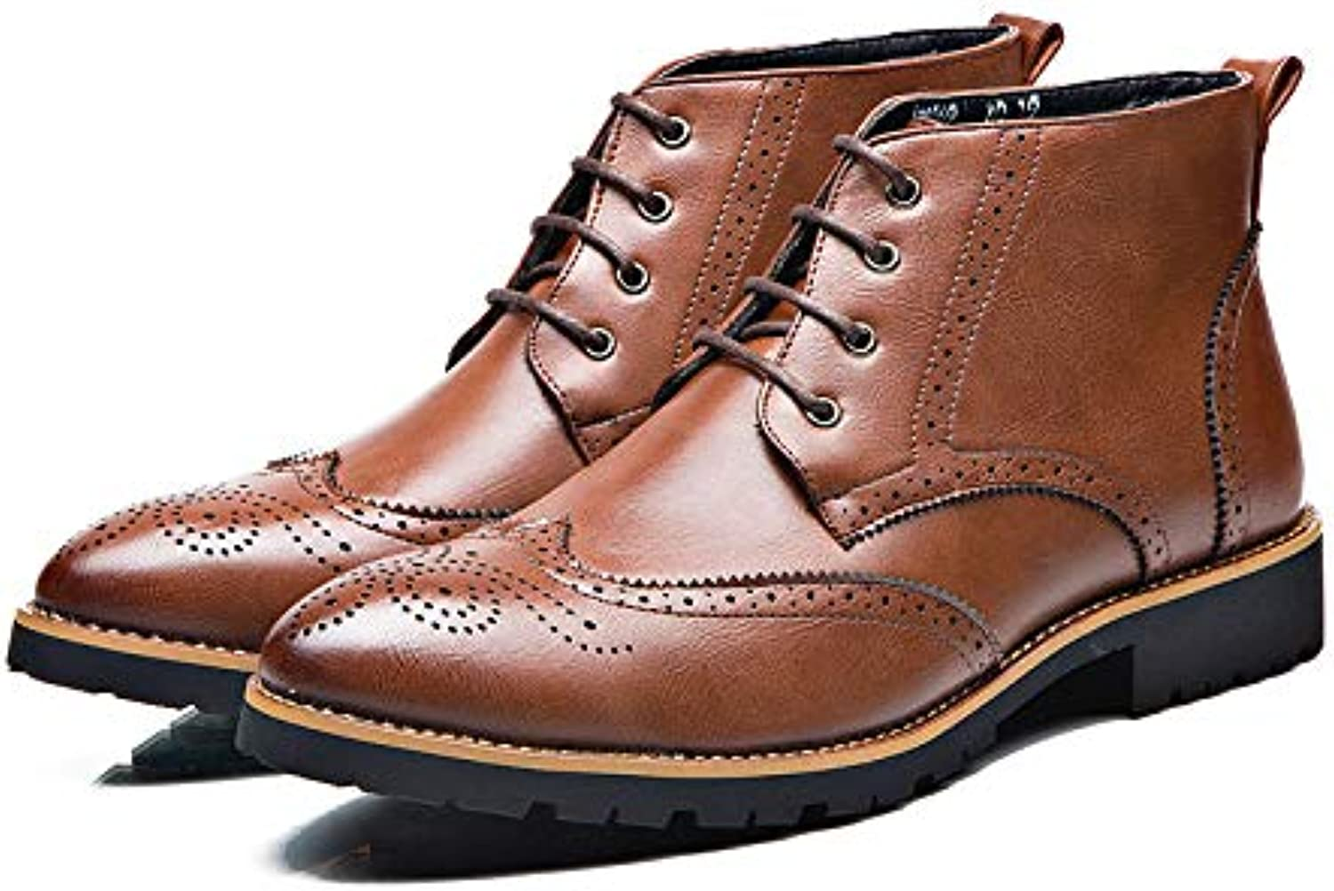 LOVDRAM Boots Men's Martin Boots Men'S Booties Fashion Thick Brock Men'S Boots Carved Tooling Boots Men'S shoes