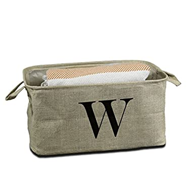 Urban Legacy Letter Initial Monogram Storage Basket Burlap Eco-Friendly Jute. Storage Bin Nursery, Beauty Products, Office Supplies, Gift Basket Monogram (W)