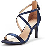 DREAM PAIRS Women's Dolce Navy Satin Fashion Stilettos Open Toe Pump Heel Sandals Size 7.5 B(M) US