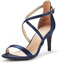 Dream Pairs Women's DOLCE NAVY Satin Fashion Stilettos Open Toe Pump Heel Sandals Size 8.5 B(M) US