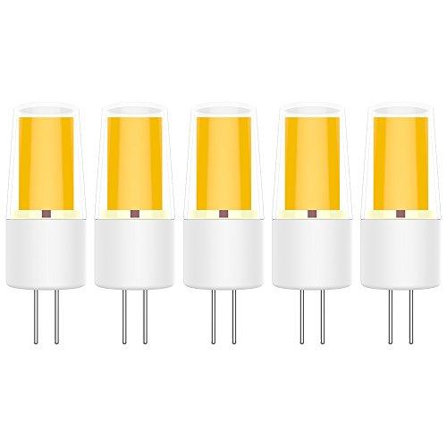 5X G4 LED Lámpara 3W Bombilla LED COB Blanco Cálido 3000K Bombilla Lámpara 270LM Equivalente a Halógenas 30W AC/DC12V