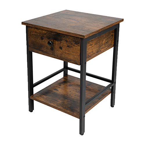 JPNTOYE Industrial Nightstand, Bedside Table with Drawer and Shelves, End Table with Wooden Top and Front, Bedroom, Living Room, Easy Assembly, Metal Frame, Industrial Design, Rustic Brown and Black