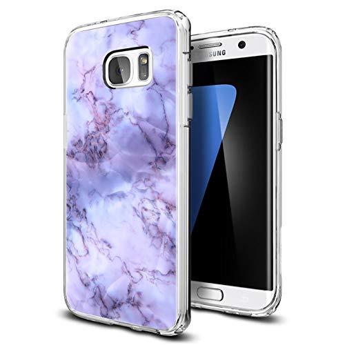 Preisvergleich Produktbild Conie® Handyhülle Rück Schale für Samsung Galaxy S7,  Ultra Slim TPU Hülle aus Silikon mit Bilder Motiv,  Kanten Display Kamera Schutz,  Motiv Lila Marmor Design
