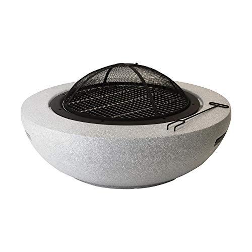 Esschert Design Feuerschale Größe L aus MGO/Eisen, Ø 90 x 43 cm, mit Kohle-Gabel und Funkenschutz, 2in1 Feuerschalle und Grill