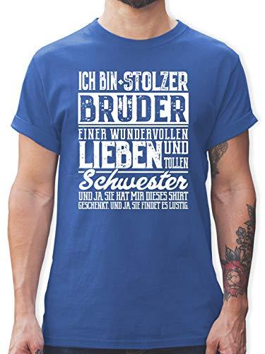 Bruder & Onkel - Ich Bin stolzer Bruder Einer tollen und wundervollen Schwester - M - Royalblau - Geschenke Fuer Grosse Schwester - L190 - Tshirt Herren und Männer T-Shirts