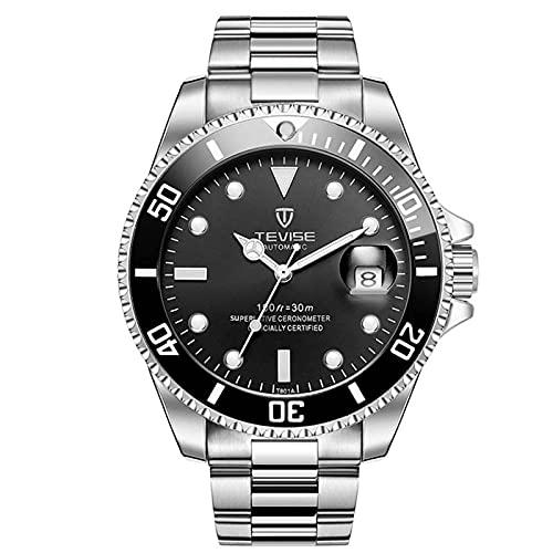 JTTM Reloj para Hombre Moda Automático Analógico De Cuarzo Reloj De Pulsera para Hombre Acero Inoxidable Deportivo Impermeable con Fecha Reloj De Pulsera,Silver Black