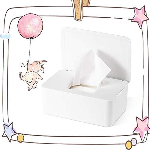 Caja para Toallitas Húmedas, Dispensador de Toallitas Humedas, Caja de almacenamiento de pañuelos con tapa, Caja de almacenamiento de pañuelos a prueba de polvo para Oficina en casa (blanco)