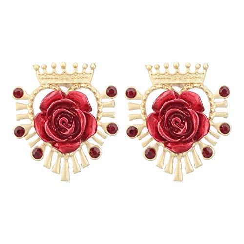 Vvff Heart-Shaped Metal Crown Rose Flower Earrings Women'S And Popular Stud Earrings Banquet Jewelry Accessories