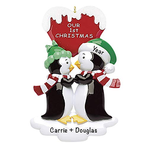 Our 1st Christmas Penguins Christmas 2021 Ornament – Charming Personalized Christmas Ornaments for Couples –, Lightweight Custom Christmas Ornament – Polyresin Couple Ornament 2021