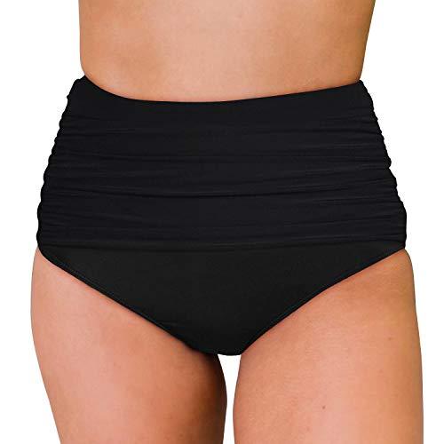 Ranphee Womens Black Ruched Full Coverage Tummy Control High Waisted Bikini Bottoms L