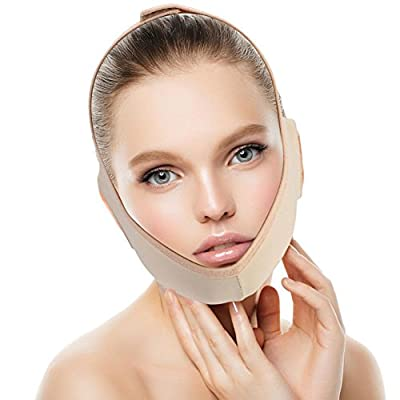 Facial Slimming Mask, Neck Support Lift V Face Line Bandages Facial Double Chin Care Weight Loss Face Belts(M)