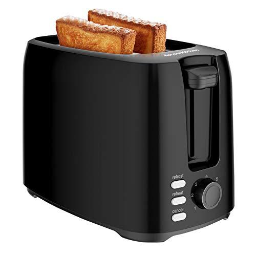 Bonsenkitchen Tostadoras Pan de 2 Rebanadas con 7 Niveles de Tostador y Bandeja para Migas, 750 W, Tostadora de Pan Automática con Función de Descongelar y Calentamiento,Negro TA8901