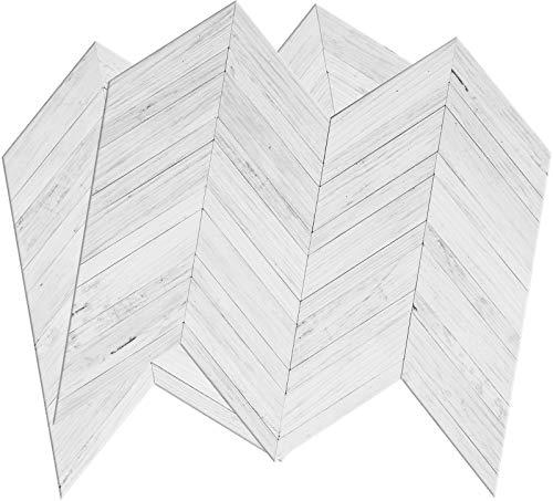 DICOFUN White/Grey Herringbone Peel and Stick Backsplash, Vintage Wood Tiles Kitchen Backsplash, Pack of 10