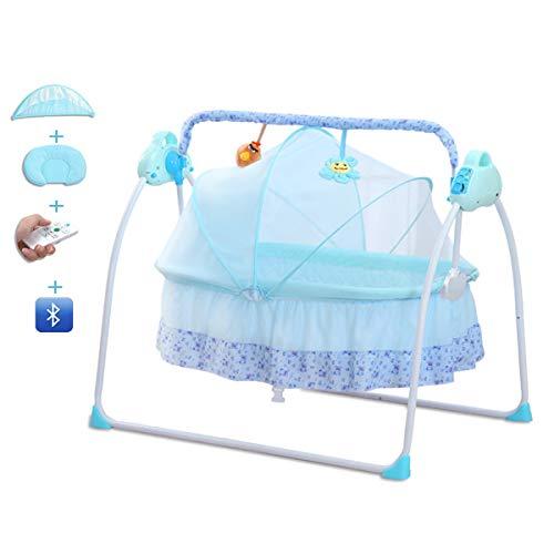Columpios eléctricos para bebés con función de Temporizador de reproducción de música Control Remoto Cuna Mecedora para bebés con moustiquaire Almohada Suave para bebés de 0-24 Meses (Azul)