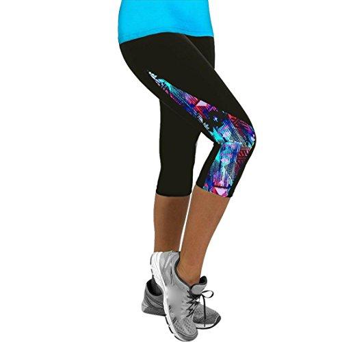 Damen Yogahose,Beikoard Frauen Damen Floral Sport Yoga Eignung Gamaschen Turnhalle 3/4 dünne Hosen-Hose Geeignet für Sport Dance Running Pilates Workout Strumpfhose (M, Mehrfarbig)