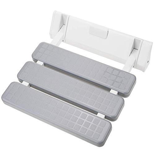 PrimeMatik - Opklapbare douchestoel. Grijze en plastic klapstoel voor ouderen 320x328mm
