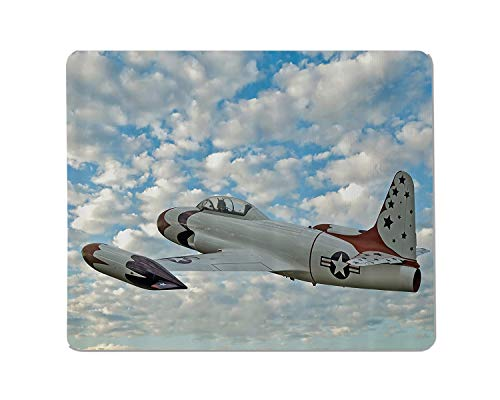 Yeuss Aircrafts Office Desktop Decorative Mouse Pad Vintage Airplane U.S. Air Force Fighter in Flight in The United States Non Slip Gaming Mousepad 200mm X 240mm
