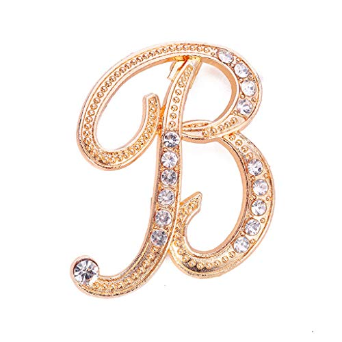 Shimigy 1PC Crystal 26 English Letters Brooch Pin Couple Memorial Jewelry Love Gift for Women - Multi - One Size