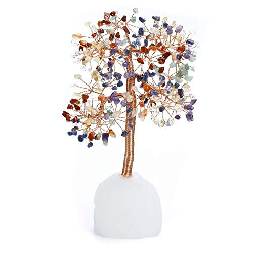 Jovivi 7 Chakra Healings Crystal Money Tree Natural Clear Quartz Base Bonsai Crystal Tree Ornament Home Office Desk Decoration for Feng Shui Wealth and Luck Gifts