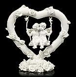 Engel Figuren - Cherubim auf Herz Schaukel | Elfe, Fee, Skulptur, Statue, Schutz-Engel, H 10,5 cm