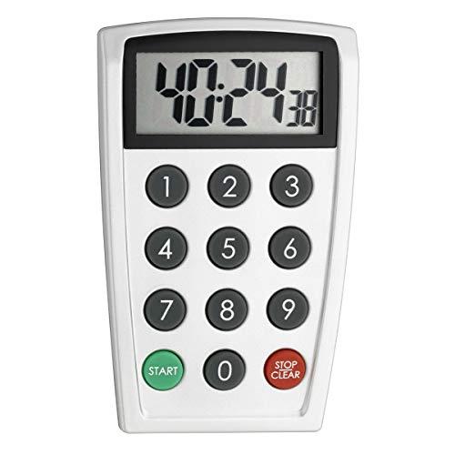 TFA Dostmann Digitaler Timer und Stoppuhr, 38.2026, groß und genau, Eieruhr, Kurzzeitwecker, bis 99h 59min 59sec, weiß, 0, 0 cm