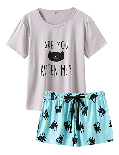 VENTELAN Summer Pajamas for Women 2 Piece Cute Cat Sleepwear Pajama Sleep Set
