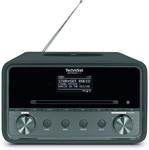 TechniSat DIGITRADIO 584 – Stereo DAB+ Internetradio (CD-Player, Wireless-Charging, Alexa Sprachsteuerung, WLAN, Bluetooth, USB, Wecker, Equalizer, 2 x 10 Watt Lautsprecher) anthrazit