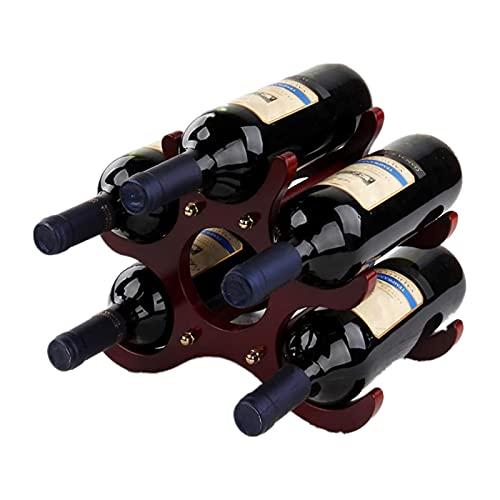 ZYLLZY Portabottiglie da appoggio in legno, 6 bottiglie di vino, decorazione da tavolo per vino, autoportante, rustico, da cucina, per arredamento e cucina, bar, cantina, armadietto, dispensa