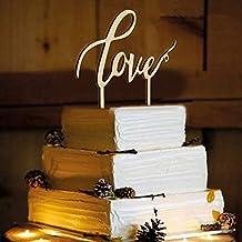 Losuya Love Decoración para tarta de boda, compromiso, madera, suministros de decoración