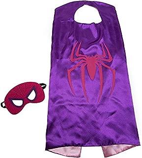 Bek Brands Spidergirl Superhero Cape and Mask Set   Dress up Satin Cape and Felt Mask, Costume for Kids Party