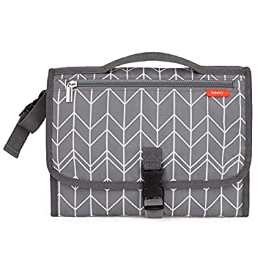 Babebay Portable Diaper Changing Pad - Waterproof Baby Changing Pad with Built-in Head Cushion, Portable Changing Mat with Smart Wipes Pocket, Travel Changing Station kit for Boys & Girls (Dark Grey)