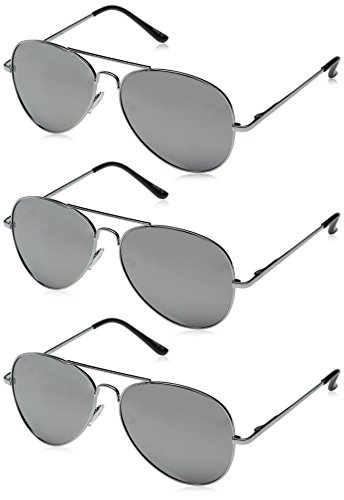 zeroUV - Mirrored Aviator Sunglasses for Men Women with Spring Loaded Hinges (3-Pack   Silver)