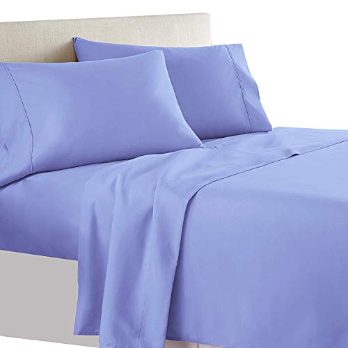 Royal Tradition Solid 550-Thread-Count, 100-Percent Cotton Queen Bed Sheets Set, Periwinkle
