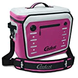 Coolest Vibe Premium Soft-Sided, Insulated, Waterproof Portable Cooler with Fliplock Magnetic Latch and Universal Mount – Perfect for The Beach, Biking, Boating, Camping, tailgaiting (30 Can, Fuscia)