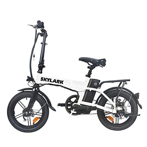 TrekPower Folding Electric Bike 250W Lightweight Aluminum Elecctric Bicycle 16' 36V10A Lithium Battery Ebike with Pedals,Power Assist, 20 Miles Range E-Bike with Dual Disc Brake